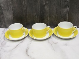 Set of 3 Fitz & Floyd Papillion Yellow White Flat Bottomed Cups and Saucers - $23.76