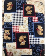 Vintage Teddy Bear Patriotic Cotton  Fabric 21/2  Yards Red White Blue G... - $18.51