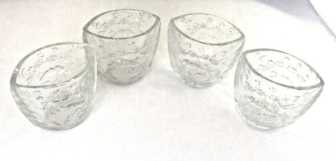 4 Christmas Candle Holder Kig Indonesia Clear Pressed Molded Glass Cup Reindeer