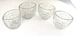 4 Christmas Candle Holder Kig Indonesia Clear Pressed Molded Glass Cup R... - $19.80
