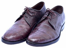 Elegant Wine Berry Red Lace Up Round Toe Original Crocodile Leather Shoes - $1,199.99