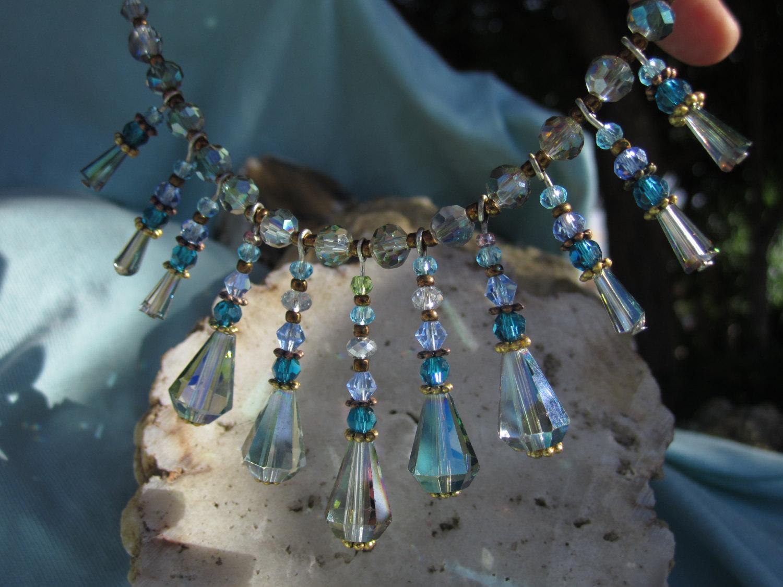 Swarovski crystal Aurora Borealis choker with  droplets of changing color