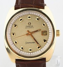 Omega Seamaster Automatic Gold-Plated Vintage Men's Watch w/ Brown Leather Band - $1,518.26