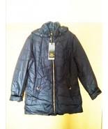 New Nylon Navy Jacket Woman Man Winter Hooded Hood Dark Blue - $25.00