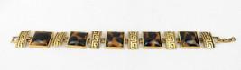 "Vintage Costume Jewelry Creek Design Lucite Gold Tone Bracelet 8"" No Mark - $35.00"