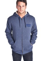 NEW LEVI'S MEN'S PREMIUM SHERPA CLASSIC COTTON HOODIE JACKET SWEATER BLUE image 1