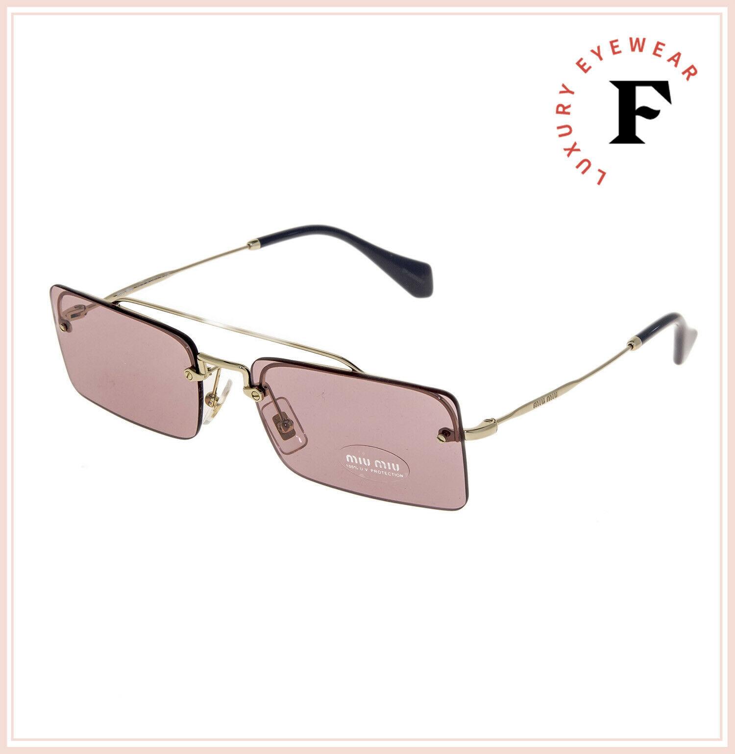 MIU MIU SOCIETE MU59TS Pale Gold Pink Square Rimless Special Sunglasses 59T image 4