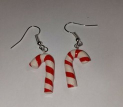 Candy Cane Earrings Silver Wire Holiday Charms Christmas Candy - $6.50