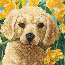 "Dimensions Mini Needlepoint Kit 5""X5""-Puppy Mischief Stitched In Floss - $11.19"