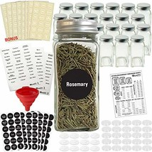 Talented Kitchen 24 Glass Spice Jars w/2 Types of Preprinted Spice Label... - £40.33 GBP