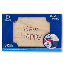 Coats 32 Spool Wooden Box Assortment Thread, - $24.17
