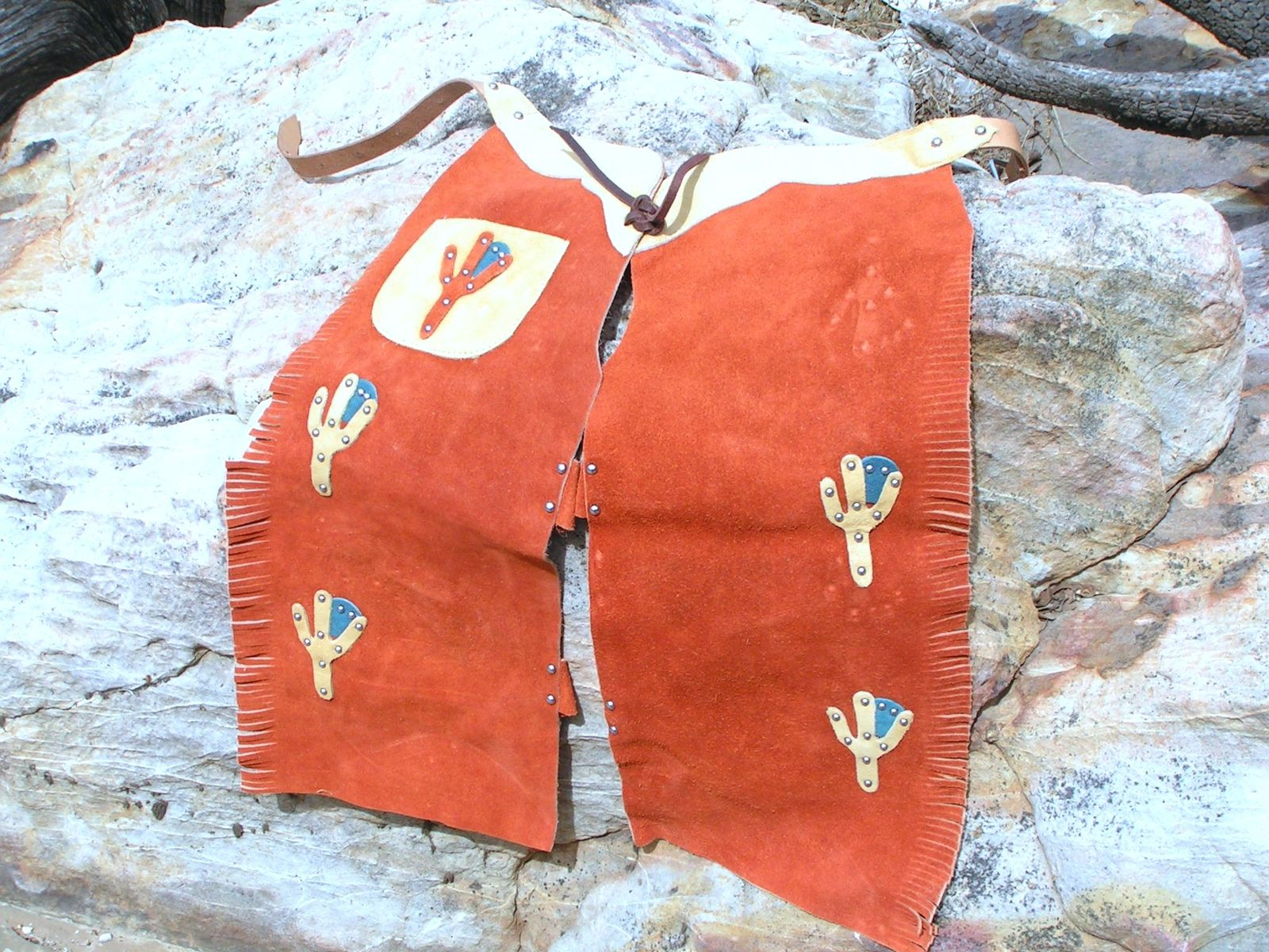 Boys Small size Leather Chaps Vest Western Outfit Costume 51 2-3 yrs