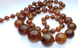 Vintage Plastic Possibly Lucite Swirl Marbled Rootbeer Graduated Beads N... - $34.64