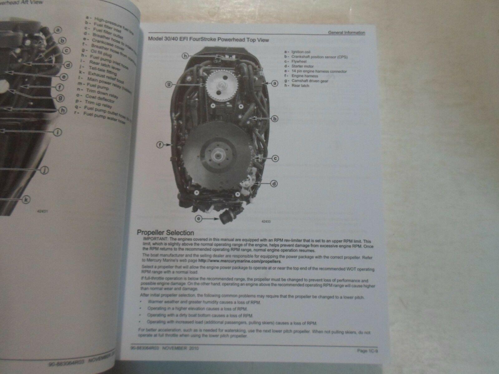 2010 Mercury 30 40 Bigfoot Efi Viertakt 3 Cyl Service Reparatur Manuell Minor