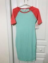 LuLaroe Julia Dress Raglan Style Teal Dark Peach XXS NWT L11 - $29.99
