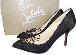 Christian Louboutin Scalopump  Black Suede Red Sole Pumps Pointy Toe Sho... - $409.00