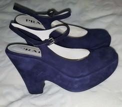 Prada Navy Blue Suede Mary Jane  Platforms Wedges  Sandals Slingbacks US... - $158.70
