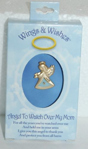 DM Merchandising Wings Wishes Watch Over Mom Angel Gold Colored Blue Traingle
