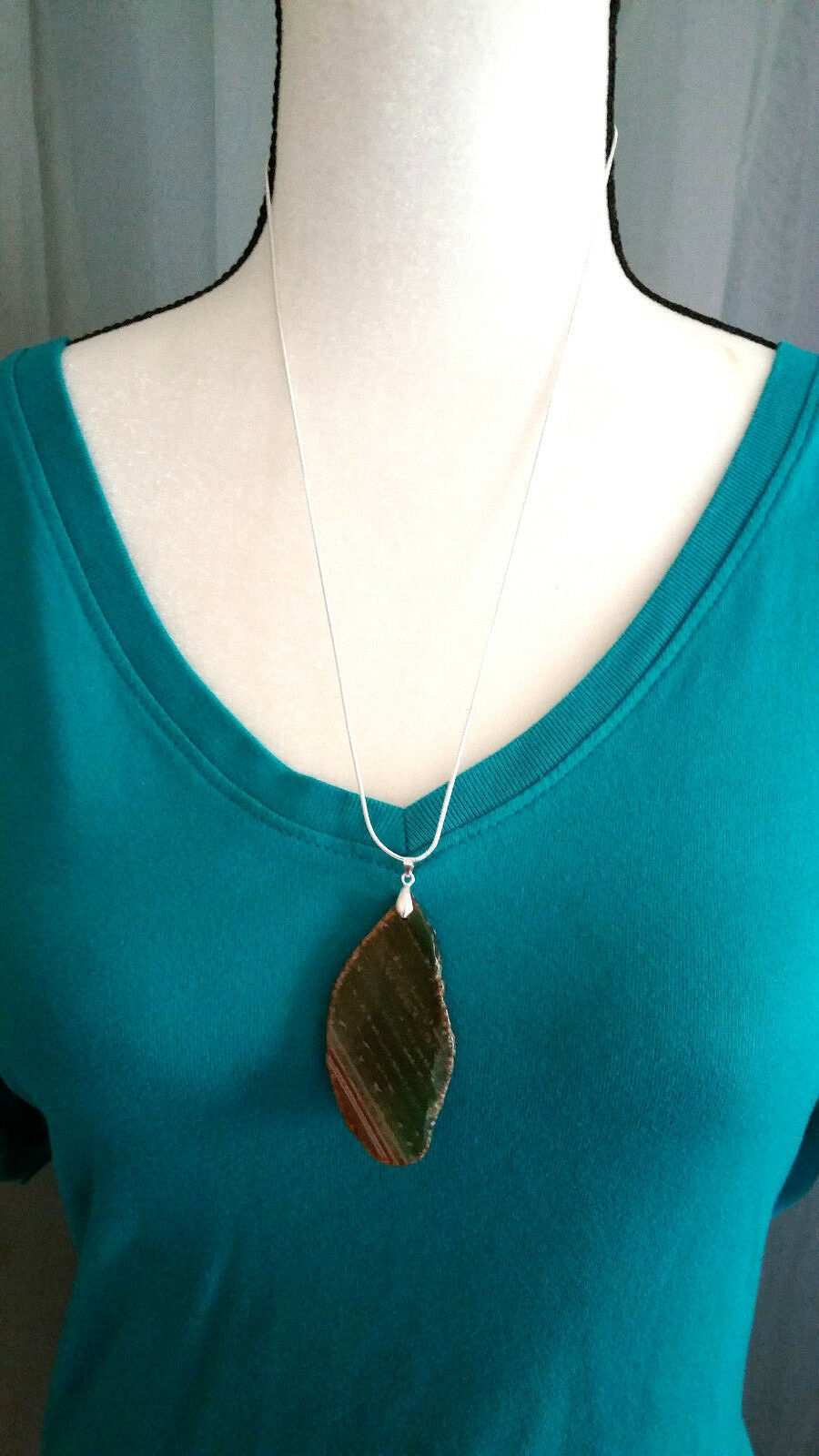 Necklace, Natural Slice of Agate Browns 24 inch 925 Sliver Chain Marked Boho  image 2