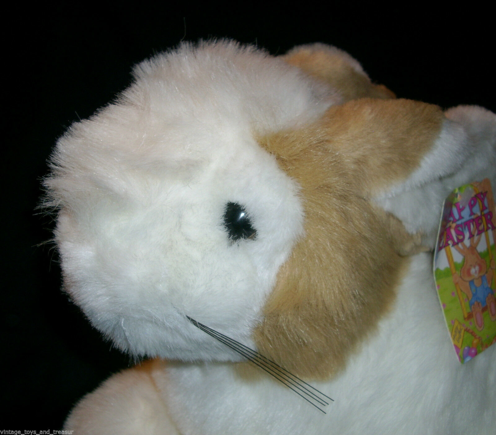 "14"" VINTAGE COMMONWEALTH WHITE TAN EASTER BUNNY RABBIT STUFFED ANIMAL PLUSH TOY"