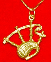 NICE 24K Gold Plated over real Sterling Silver BAGPIPE Pendant Charm BAG... - $19.75