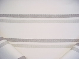 11-1/8Y FABRICUT COCOA BROWN GRAY SOFT WHITE MILL STRIPE UPHOLSTERY FABRIC - $140.98
