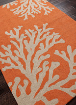"4x6 (3'6"" x 5'6"" ) Designer Tropical Coral Indoor Outdoor Orange Area Rug - €148,95 EUR"