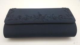 Deep Dark Blue Elegant Vintage evening bag Purse c1960's clutch beaded NEW - $9.90