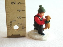 O'Well Christmas Village Figurine Resin Boy Holding Puppy Dog Play Kneel... - $14.99