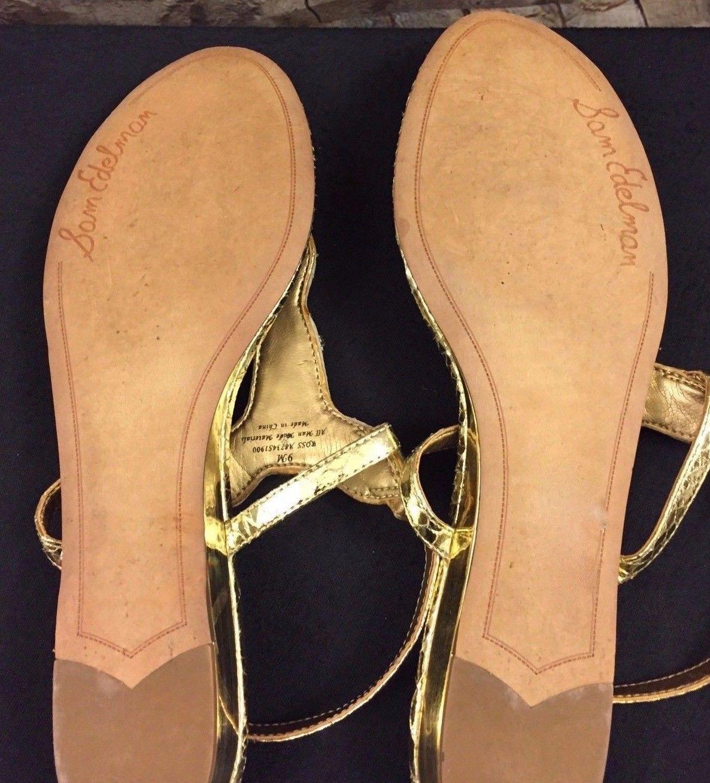 c34c708e6c60 Sam Edelman Sz 9 Ross Beaded Crystal Sandals GOLD Flats Leather Women s  Shoe EUC