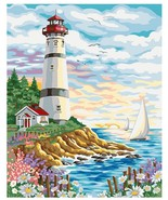Hand Painted Painting By Numbers Landscape Lighthouse Number Canvas Oil Paint - $13.46
