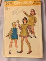 1973 Simplicity Sewing Pattern 5873 Child SZ 4 Dress Apron Uncut - $5.89
