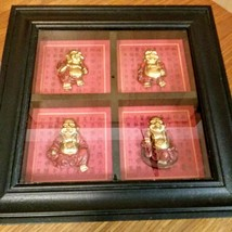 "Set of 4 Mini Red/Gold Resin Laughing Happy Buddha Figurines 11"" X 11"" Shadow Bo image 2"