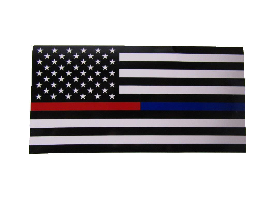 Wholesale Lot of 6 USA First Responder Thin Red Blue Line Decal Bumper Sticker - $13.88