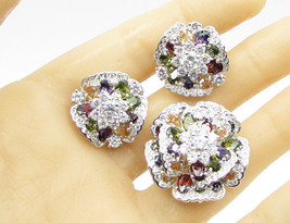 925 Sterling Silver - Multi Color Stone Floral Earrings & Pendant Set - T1032 - $107.48