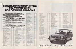 Original 1974 Honda Civic Vintage Print Ad- EPA Test Results- 2 Pages - $7.49