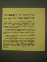 1966 University of Warwick Ad - University of Warwick Appointments Officer - $14.99