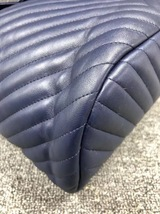 AUTH CHANEL NAVY BLUE CHEVRON QUILTED LEATHER LARGE URBAN SPIRIT BACKPACK SHW image 5