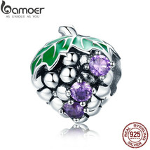 BAMOER New Arrival Genuine 925 Sterling Silver Purple CZ Summer Grape Fr... - $24.83
