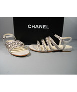 Chanel Grey 36/5.5 Leather 4 Straps Silver Woven Chain CC Sandals Flats New - $787.75