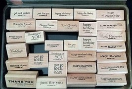 30 Stampin Up Mounted Rubber Stamps Lot One Liners Happy Thanks Mostly New - $39.59