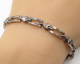 925 Sterling Silver - Vintage Petite Love Heart Detailed Tennis Bracelet... - $47.06