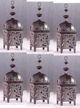 Six (6) all metal floral cutout brown moroccan deck table candle holder ... - $34.00