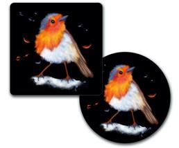 Sandstone or fabric & rubber coaster set-Watercolor Bird - $18.25+