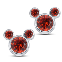 Mickey Mouse Stud Earrings Round Cut Red Garnet 14k White Gold Plated 925 Silver - $43.60