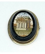 10kt Gold Italian Micro Mosaic Antique Pin Roman Greece Italy Building - $593.99
