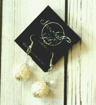 new vintage Snowball Glitz rhinestone white AB popcorn pierced drop earr... - $9.89