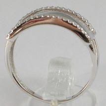 White Gold Ring 750 18k, veretta 3 files with Cubic Zirconium, Square image 3