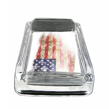 "American Flag D15 Glass Square Ashtray 4"" x 3"" Smoking Cigarette - $12.82"