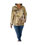 WEEKENDS by CHICOS L 2 yellow-gold brown print neema golf windbreaker  j... - $18.81